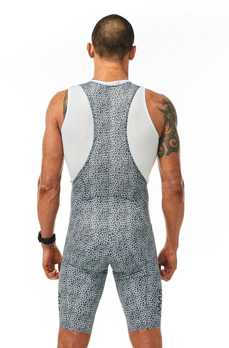 Back view men's Snow Leopard Velocity Cycling Bib Shorts. Streamlined no-cuff cycling shorts.