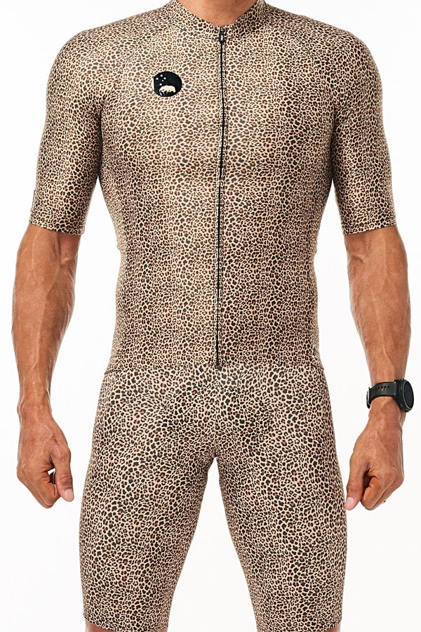 Men's WYN republic Big Cat Pro Cycling Jersey 'Wild Cat'. Aerodynamic animal print cycling jersey.