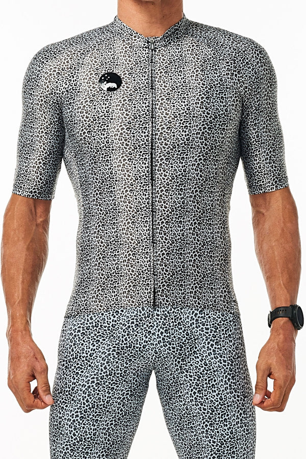 Men's WYN republic Snow Leopard Big Cat Pro Cycling Jersey. Aerodynamic animal print cycling jersey.