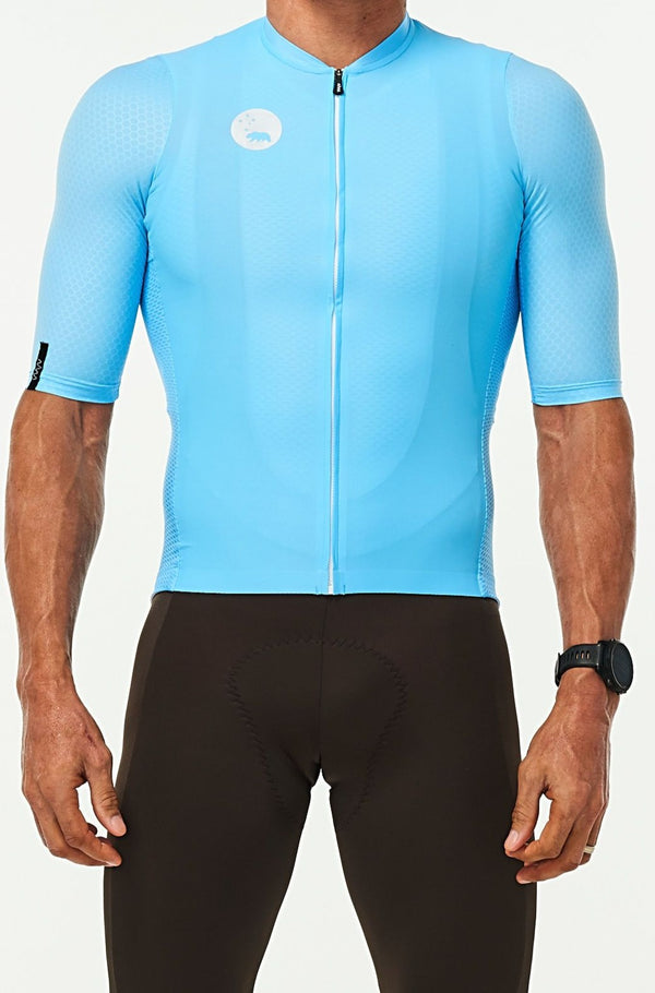 WYN republic Men's Sky Blue Luceo Hex Racer Jersey. Blue cycling jersey.