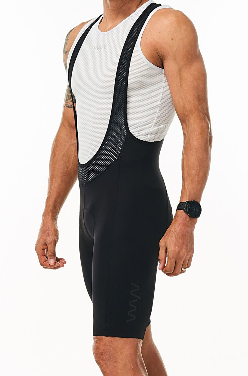 Men's Velocity Cycling Bib Shorts. Black bib shorts with black WYN republic logo on thigh.