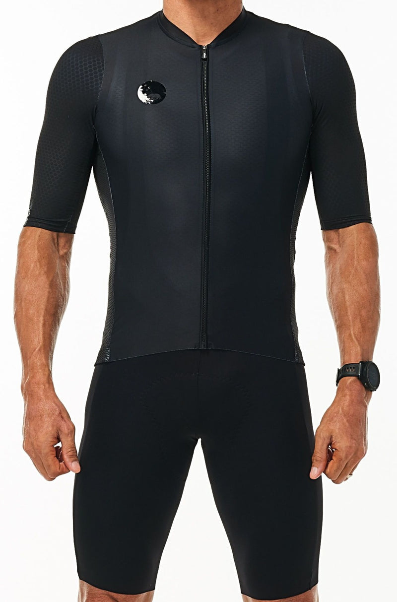 WYN republic Men's Onyx Luceo Hex Racer Jersey. Black cycling jersey.