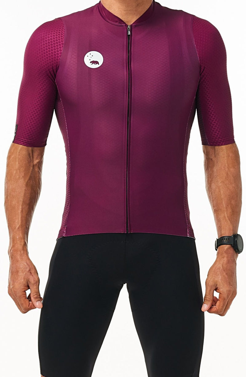 WYN republic Men's Tyrian Luceo Hex Racer Jersey. Purple cycling jersey.