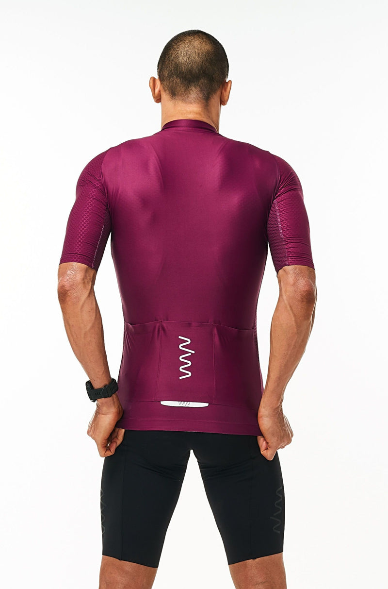 Back view men's Tyrian Hex Racer Jersey. Cycling jersey with back reflective pockets for storage.