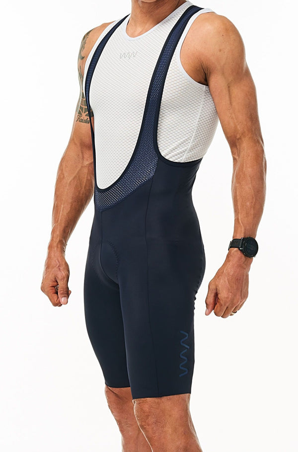 Men's Velocity Cycling Bib Shorts. Navy bib shorts with blue WYN republic logo on thigh.