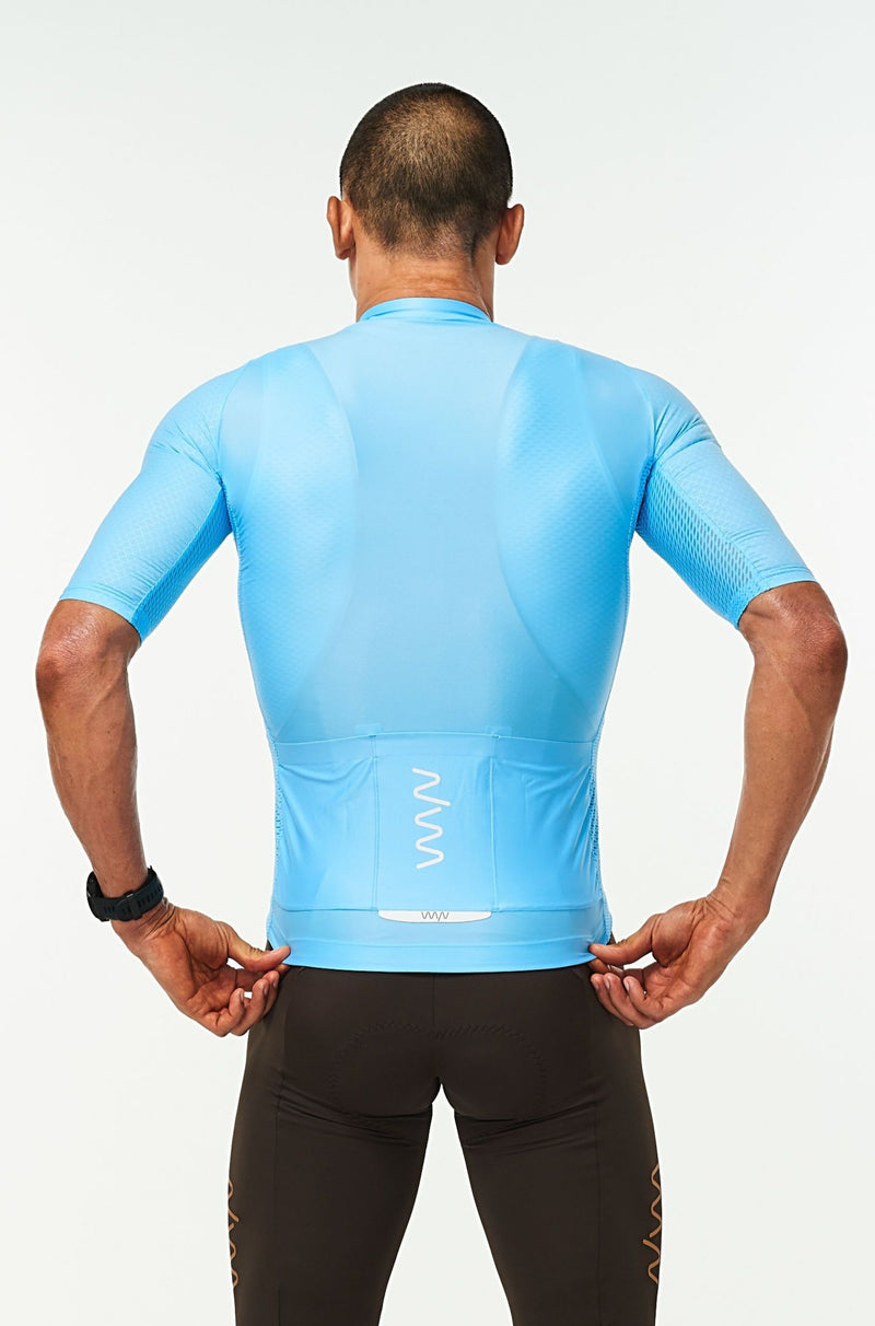 Back view men's Sky Blue Hex Racer Jersey. Cycling jersey with back reflective pockets for storage.