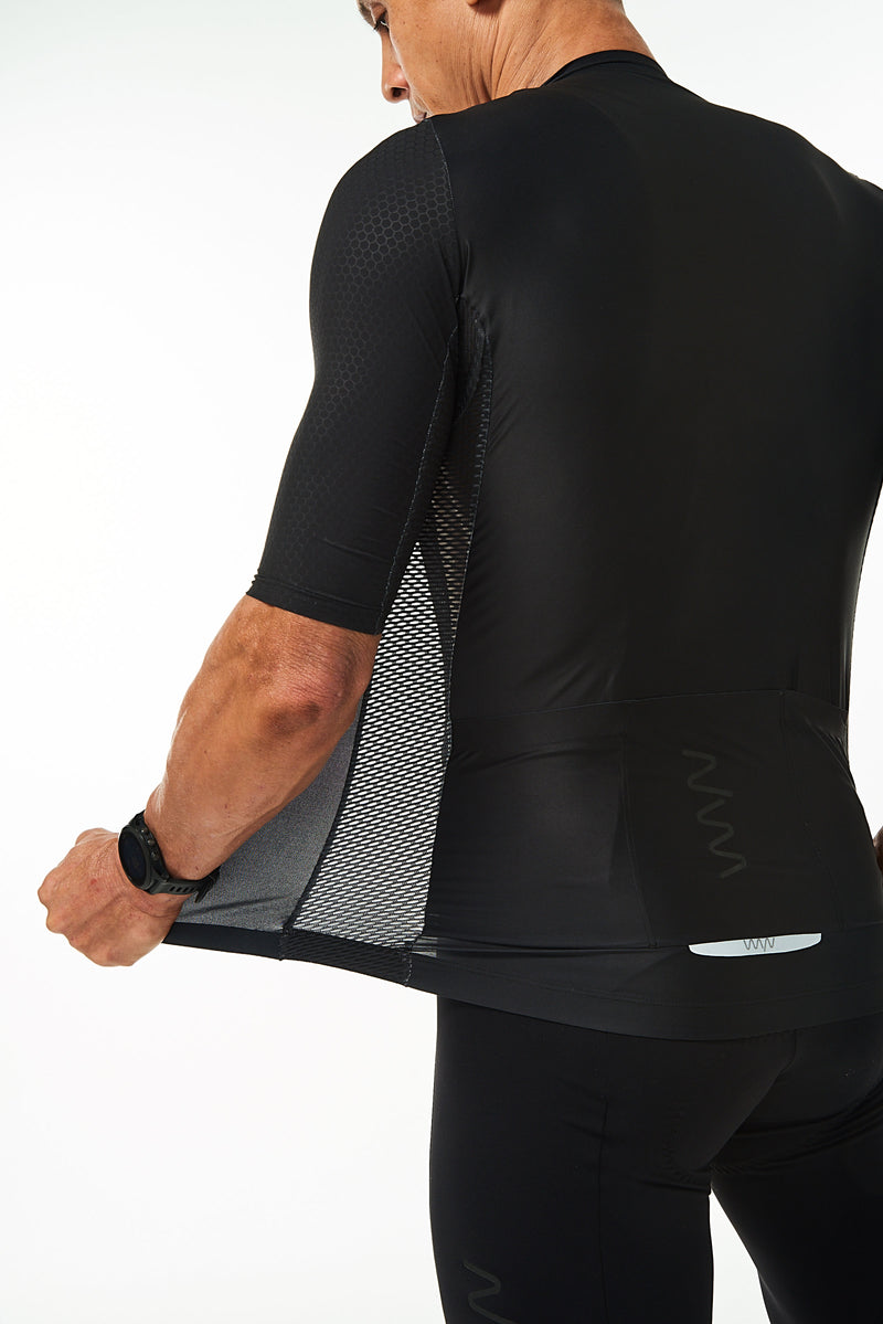 Back left angle of unzipped Onyx Hex Racer Jersey. Men's breathable cycling jersey with Italian fabric.
