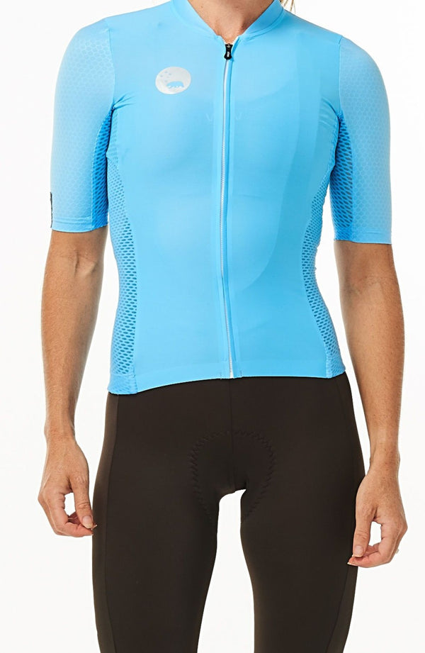 WYN republic Women's Sky Blue Luceo Hex Racer Jersey. Blue cycling jersey.