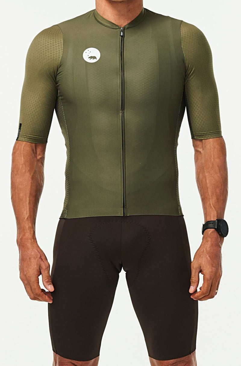 WYN republic Men's Olive Luceo Hex Racer Jersey. Green cycling jersey.
