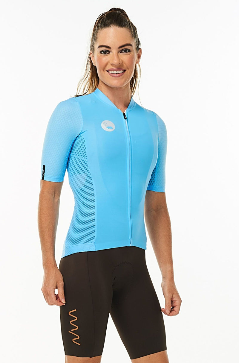 Right side of women's Sky Blue Hex Racer Jersey. Blue aerodynamic sleeves with Italian Hex fabric.