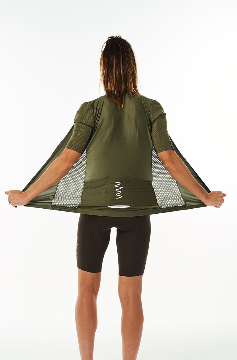 Back view women's Olive Hex Racer Jersey. Cycling jersey with back reflective pockets for storage.