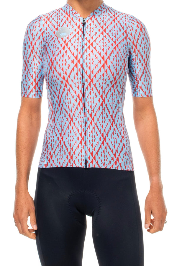 Women's Elevate Pro Cycle Jersey. Blue and red cycling jersey with diamond print.