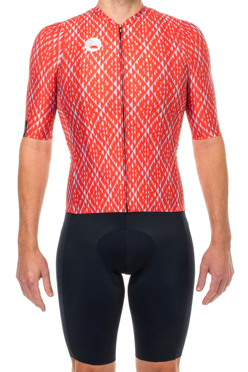 Men's Fuse Pro Cycle Jersey. Blue and Red cycling jersey.