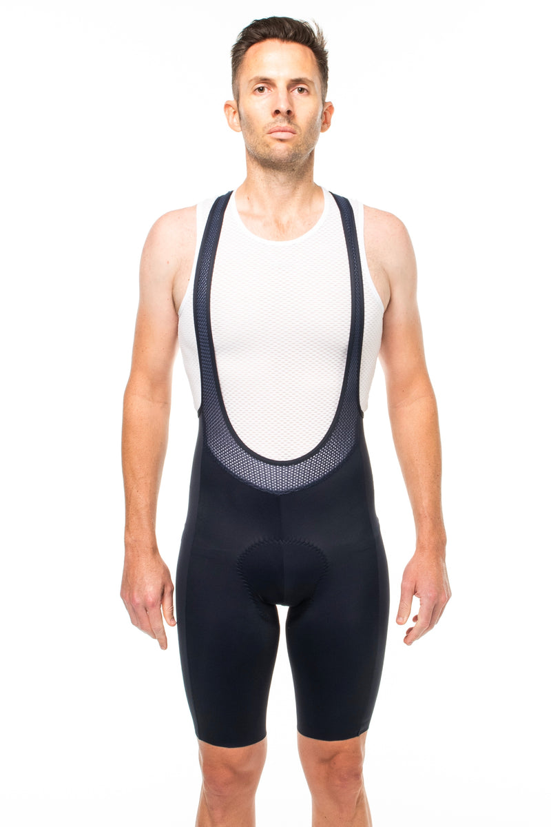 Men's Shift Velocity Bib Shorts. Black bib shorts with no cuff.