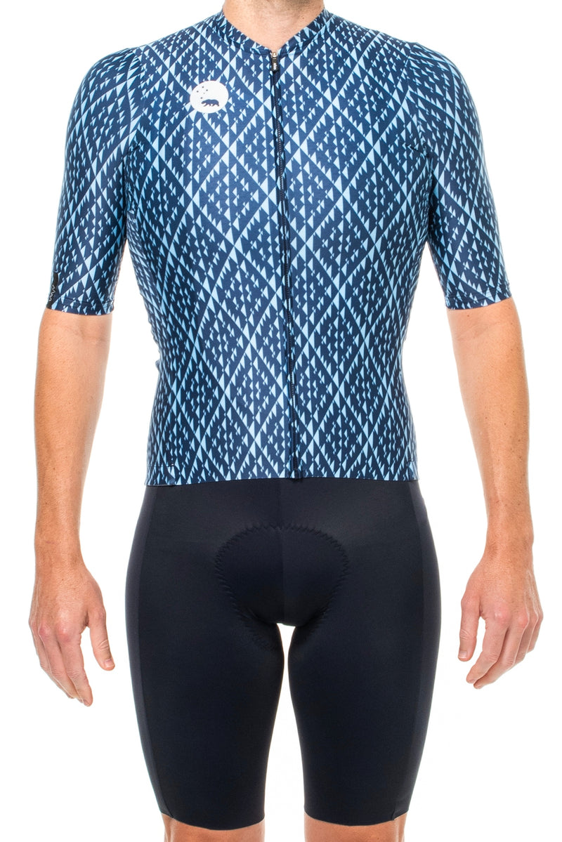Men's Shift Pro Cycle Jersey. Blue cycling jersey with diamond print.