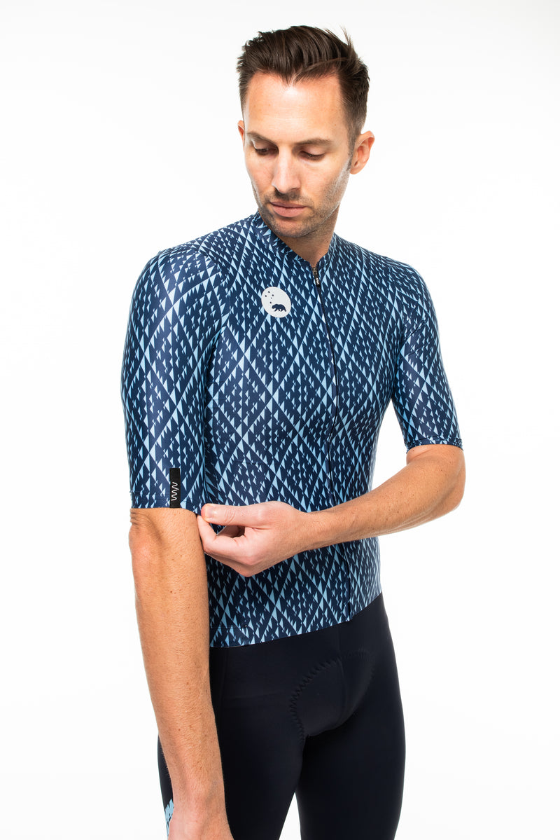 Right view of Shift cycling jersey.  Cycling jersey with sleeves that go to elbow.
