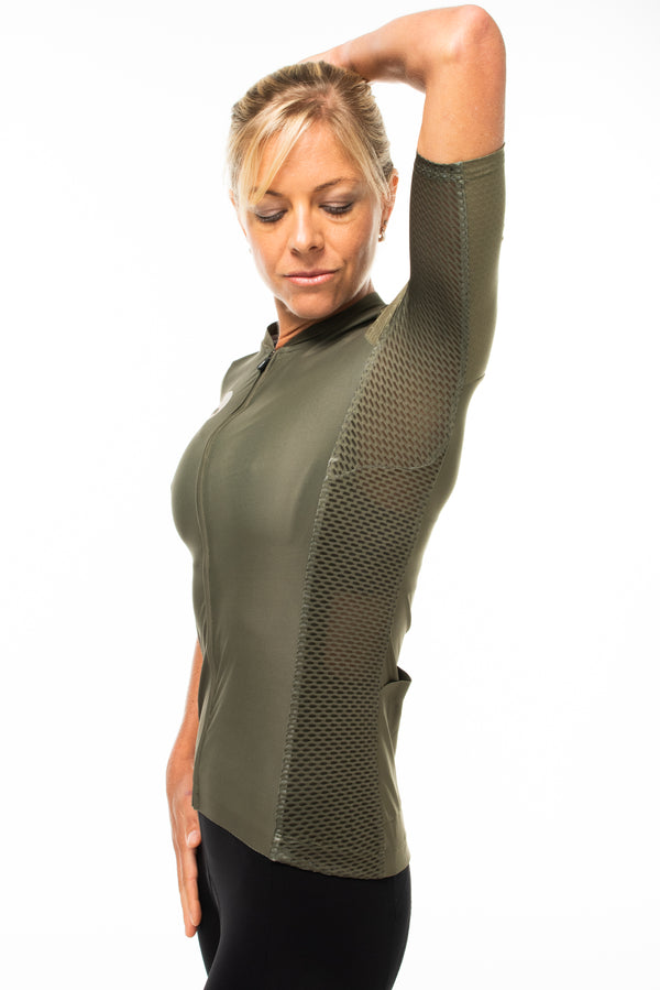 women's LUCEO hex racer cycling jersey - olive