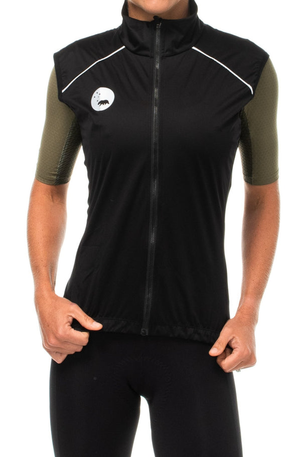 WYN republic women's black wind vest. Black gilet with reflective bear logo and detailing for safety.