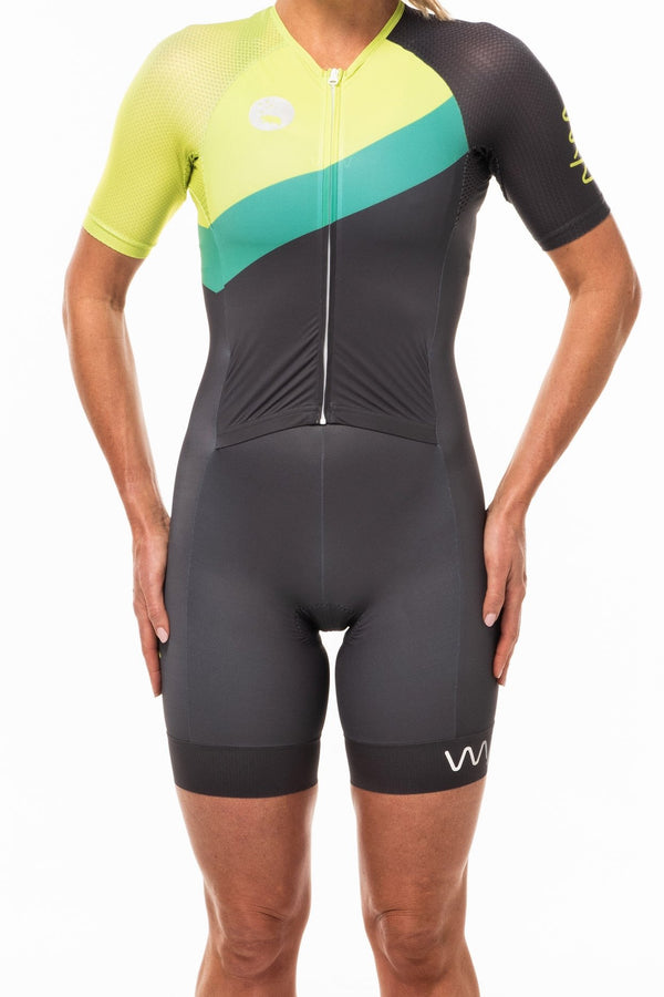 Women's WYN republic Australiano sleeved tri suit. Black triathlon suit with green & yellow stripe.