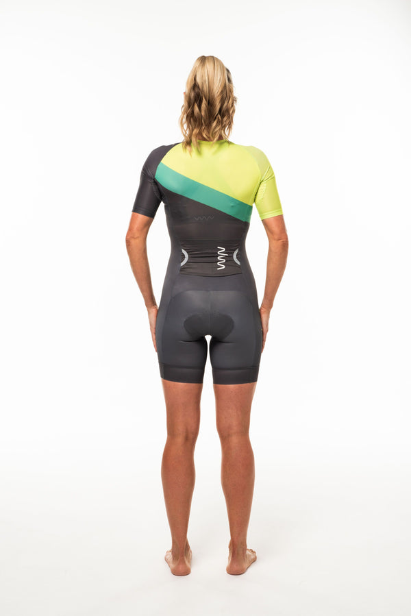 Back view Australiano sleeved tri suit. Women's one-piece triathlon suit with side entry storage.
