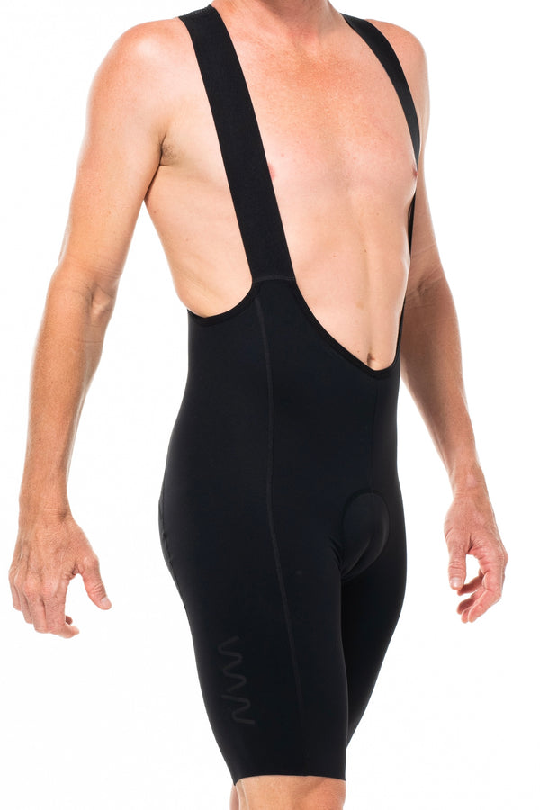 Men's Velocity 2.0 Cycling Bib Shorts. Black bib shorts with black WYN republic logo on thigh.