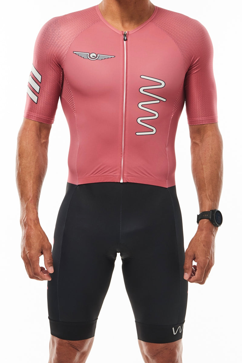 Men's WYN republic Code Red tri suit. Aero sleeved triathlon suit with black shorts.