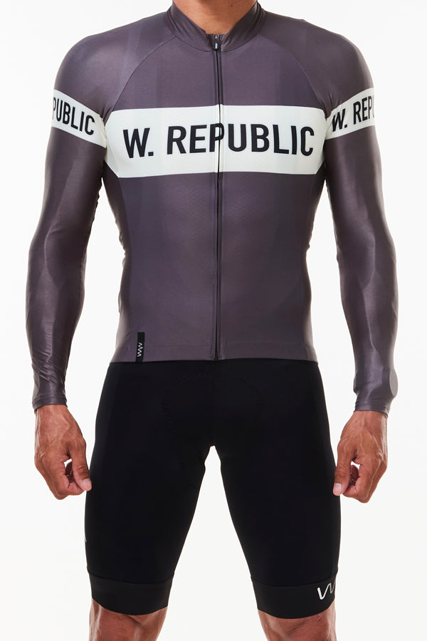 Men's WYN republic Zeppelin Long Sleeve Cycling Jersey. Grey cycling jersey with white stripe.