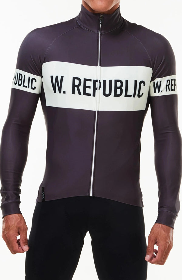 Men's WYN republic Zeppelin thermal cycling jacket. Grey with white stripe and logo across chest.