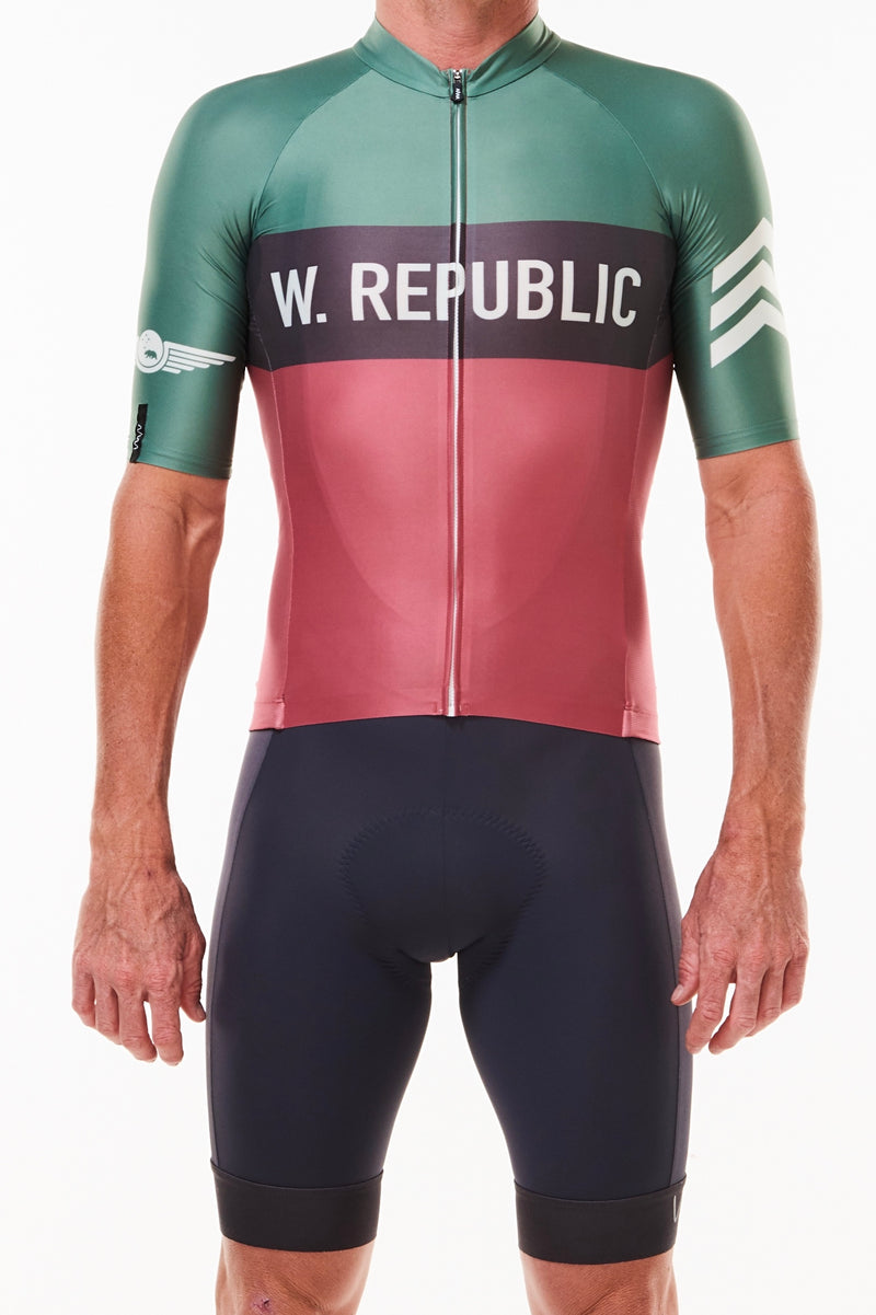 Men's WYN republic Alliance Premium Cycling Jersey. Grey, red, and green edgy cycling jersey.