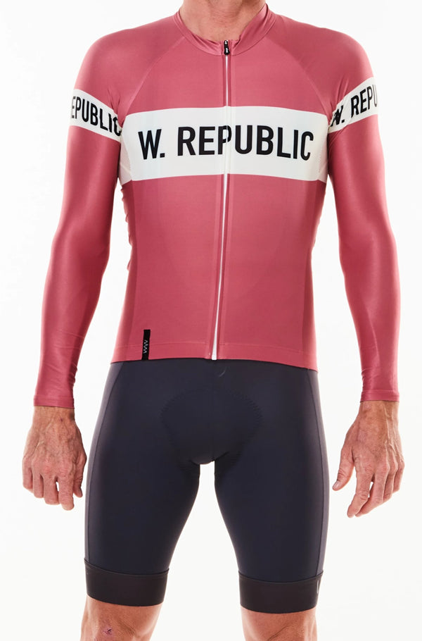 Men's WYN republic Code Red Summer Long Sleeve Cycling Jersey. Red cycling jersey with white stripe.