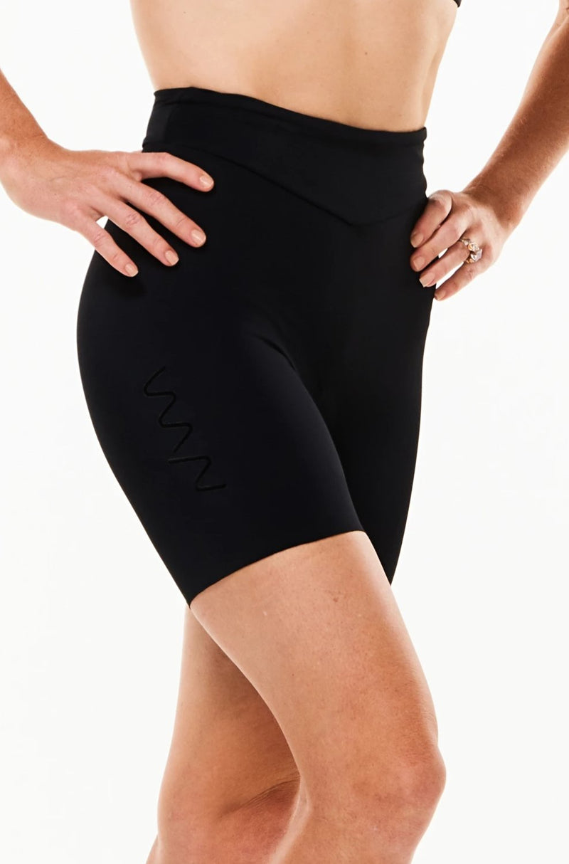 "Women's WYN republic Velocity Tri Shorts 5.5"". Right view of black shorts with black vertical logo."