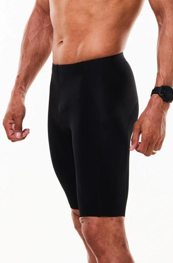 Men's WYN republic Velocity Tri Shorts. Front and left side of black aerodynamic triathlon shorts.