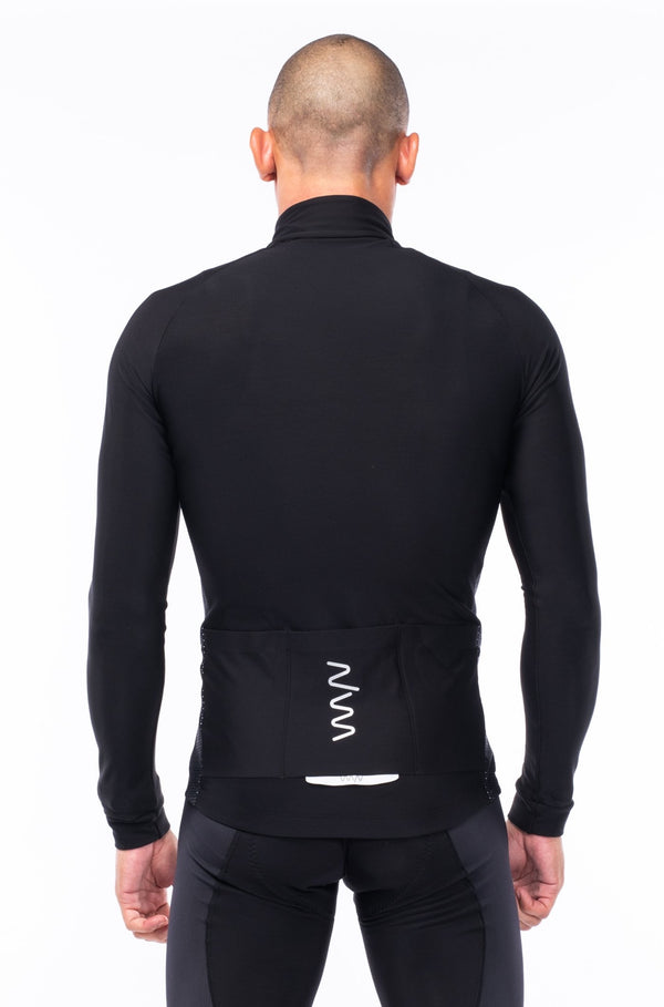 men's fleece thermal cycling jacket - black