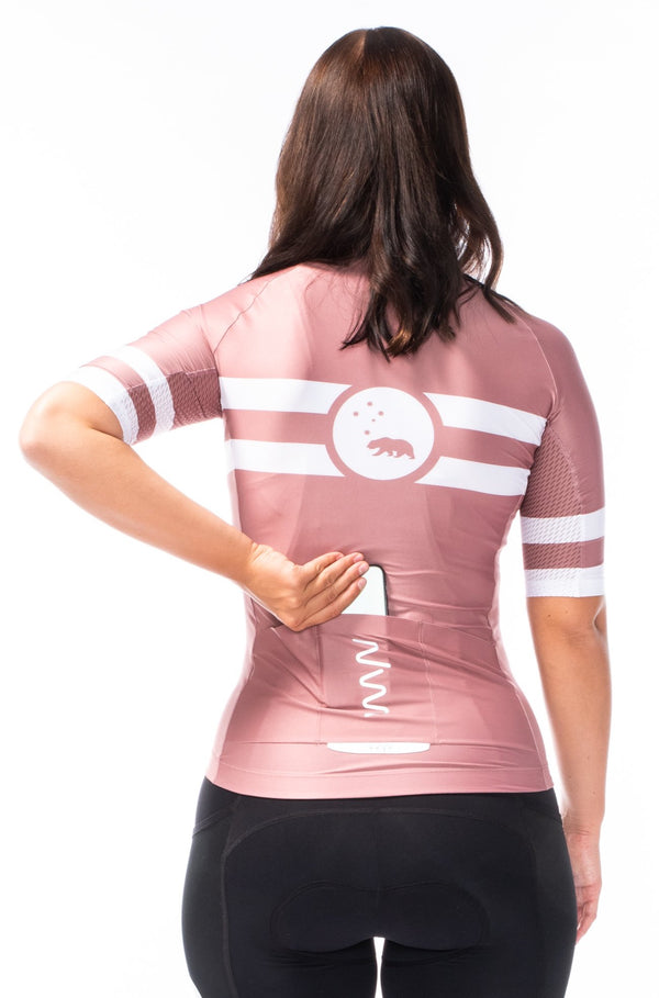 women's mojave premium cycling jersey - terracotta pink