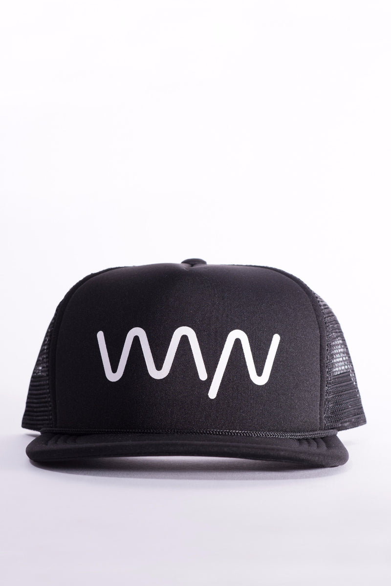 wyn signature black and silver trucker hat