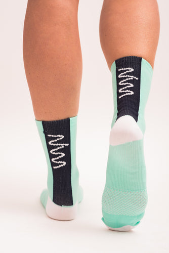 women's mint and navy cycling socks