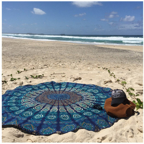 150CM Circle Yoga Blanket High-Q Mandala Round Beach Tapestry HippieYoga Mat Towel Indian Design Kinds Of Pattern Yoga towel