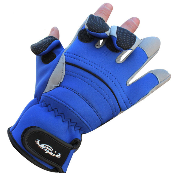 1Pair Front Waterproof  Anti-Slip Thermal Fingerless/3 Cut Finger Fishing Gloves  Lure Gloves Rod Sports Gloves