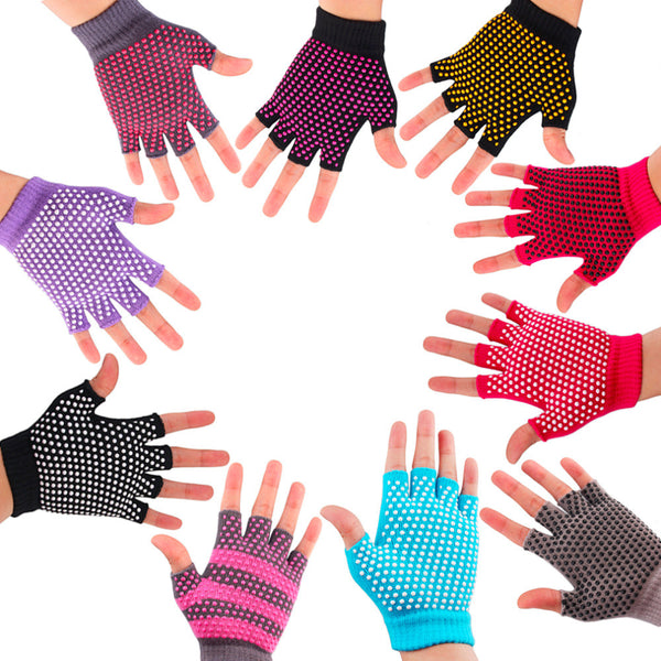 1Pair Unisex Breathable Sweat-Absorbent Yoga Fingerless Non-slip Women Men Exercise Grip Gloves 11 Color free shipping