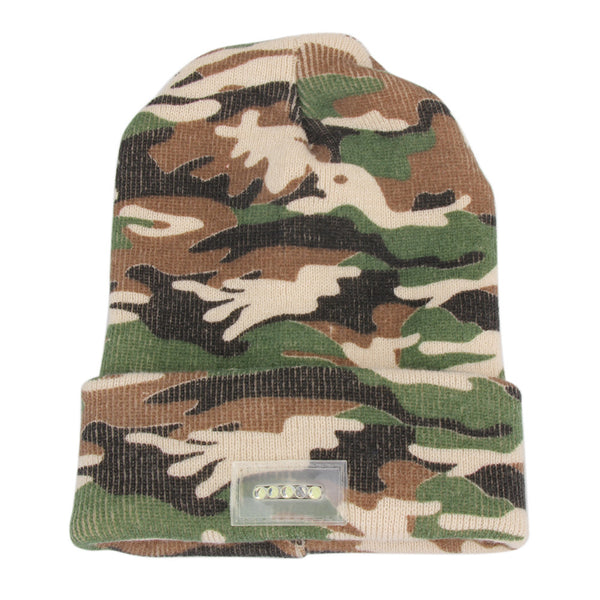 5 LED Bright Lights Camouflage Beanie Knitted Winter Warm Hat Outdoor Sports Climbing Walking Hunting Caps ISP