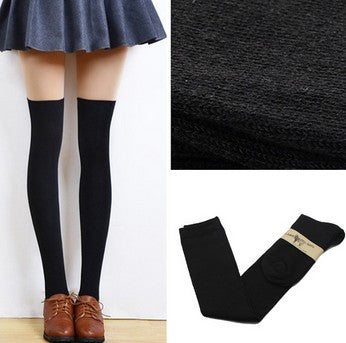 1 Pair 5 Solid Colors Fashion Sexy Warm Thigh High Over the Knee Socks Long Cotton Stockings For Girls Ladies Women