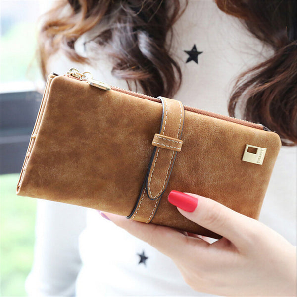 2017 Rushed Brand Lady Bags Women Wallets Purse Matte Drawstring Nubuck Handbags Leather Zipper Long Two Fold Clutch Card Holder