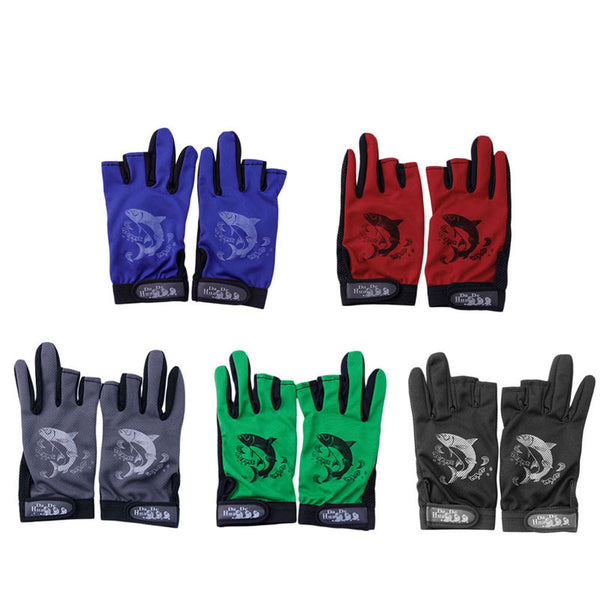 1Pair Waterproof 3 Cut Finger Anti-slip Non-Slip Fishing Gloves Outdoor Sport 100% Brand New High Quality