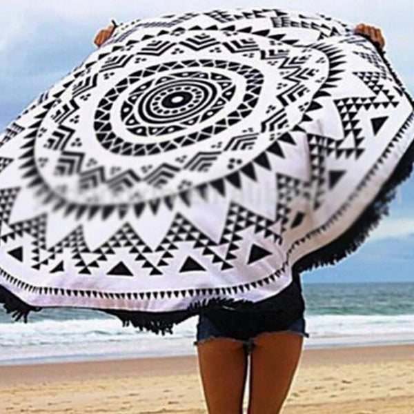 Black And White Tassel Round Beach Towel Cotton Tablecloth Beach Towel Round Yoga Mat