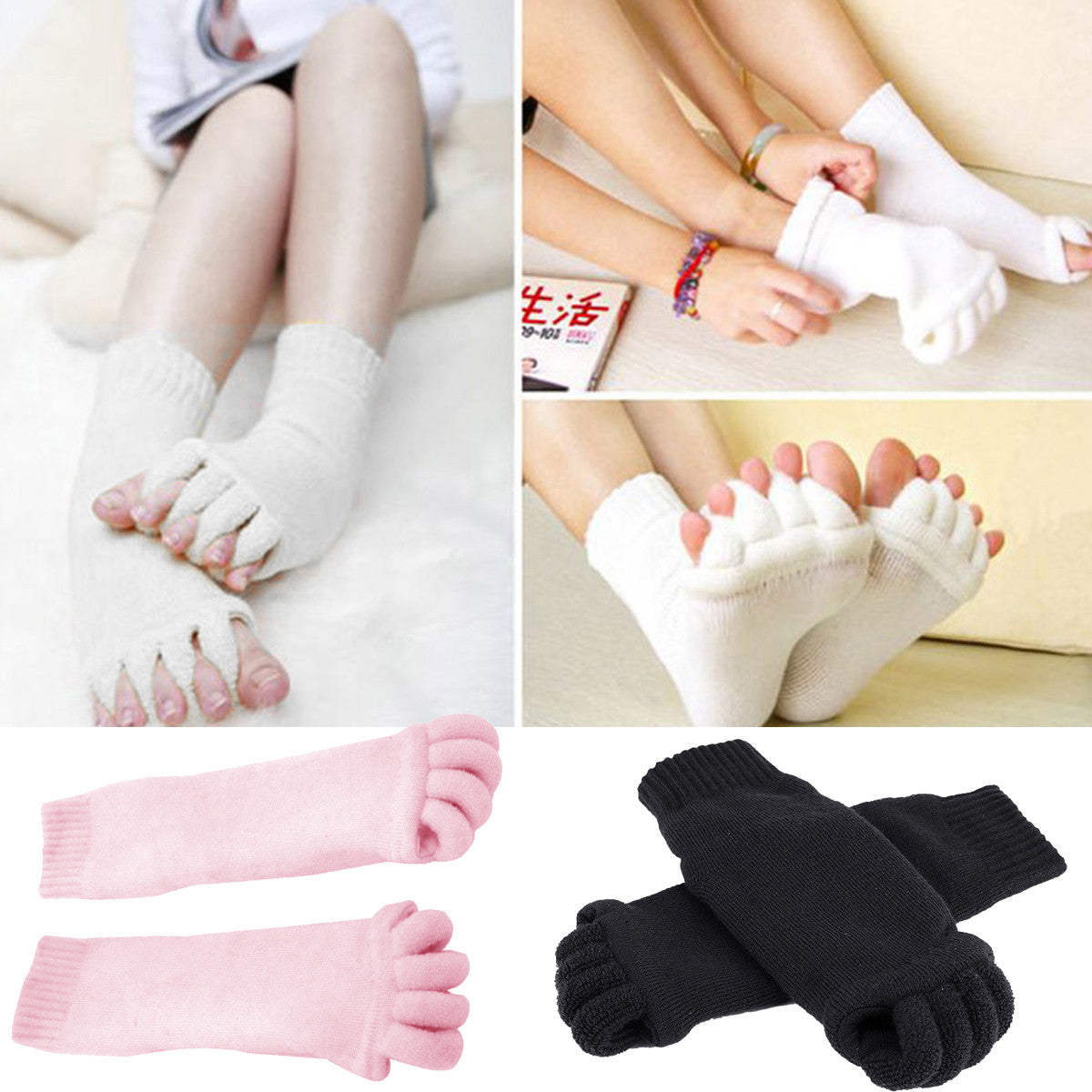 1 Pair Five Toe Separator Socks Pedicure Sock GYM Massage SPA Yoga Foot Alignment Socks For Pain Relief Pedicure Care