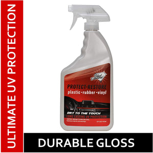 Restore-Protect Plastic, Rubber, Vinyl, Leather + Ultimate UV Protectant to Prevent Fading on Cars, Tires, Trim, Bumpers, Dashboards, and Seats