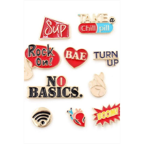 Tay's Treasures Accessories One Size 10 piece enamel pin set