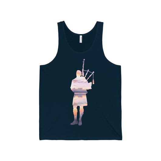 Tank Top Bagpiper Sunset Reflection Over Water Tank Top - Gracenote Apparel