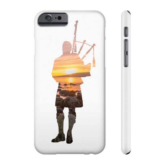 Phone Case Bagpiper Sunset Over the Ocean and Rocks Phone Case - Gracenote Apparel