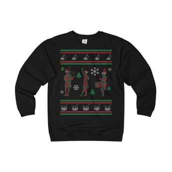 Sweatshirt Ugly Christmas Sweater - Bagpipes, Highland Dancer, Drumming - Gracenote Apparel